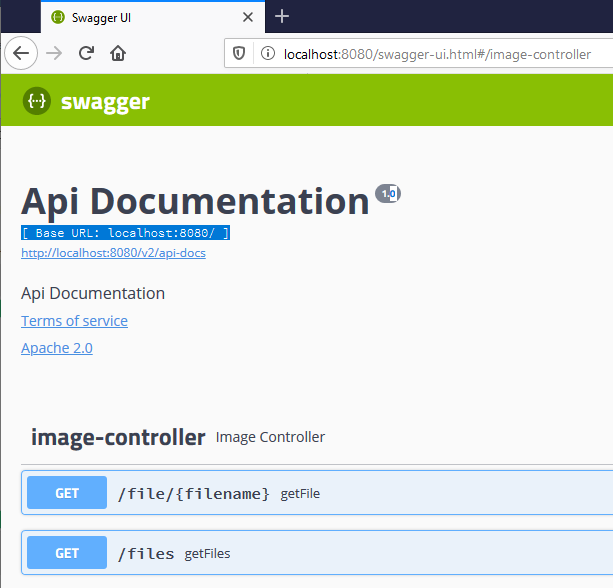 Spring image server Swagger interface running on Raspberry Pi